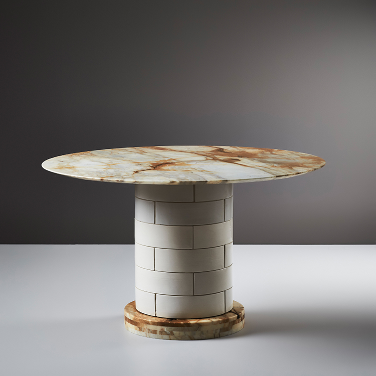 Porcelain Bear's 'Metro' dining table in stone and porcelain. Photograph by Mike Baker.