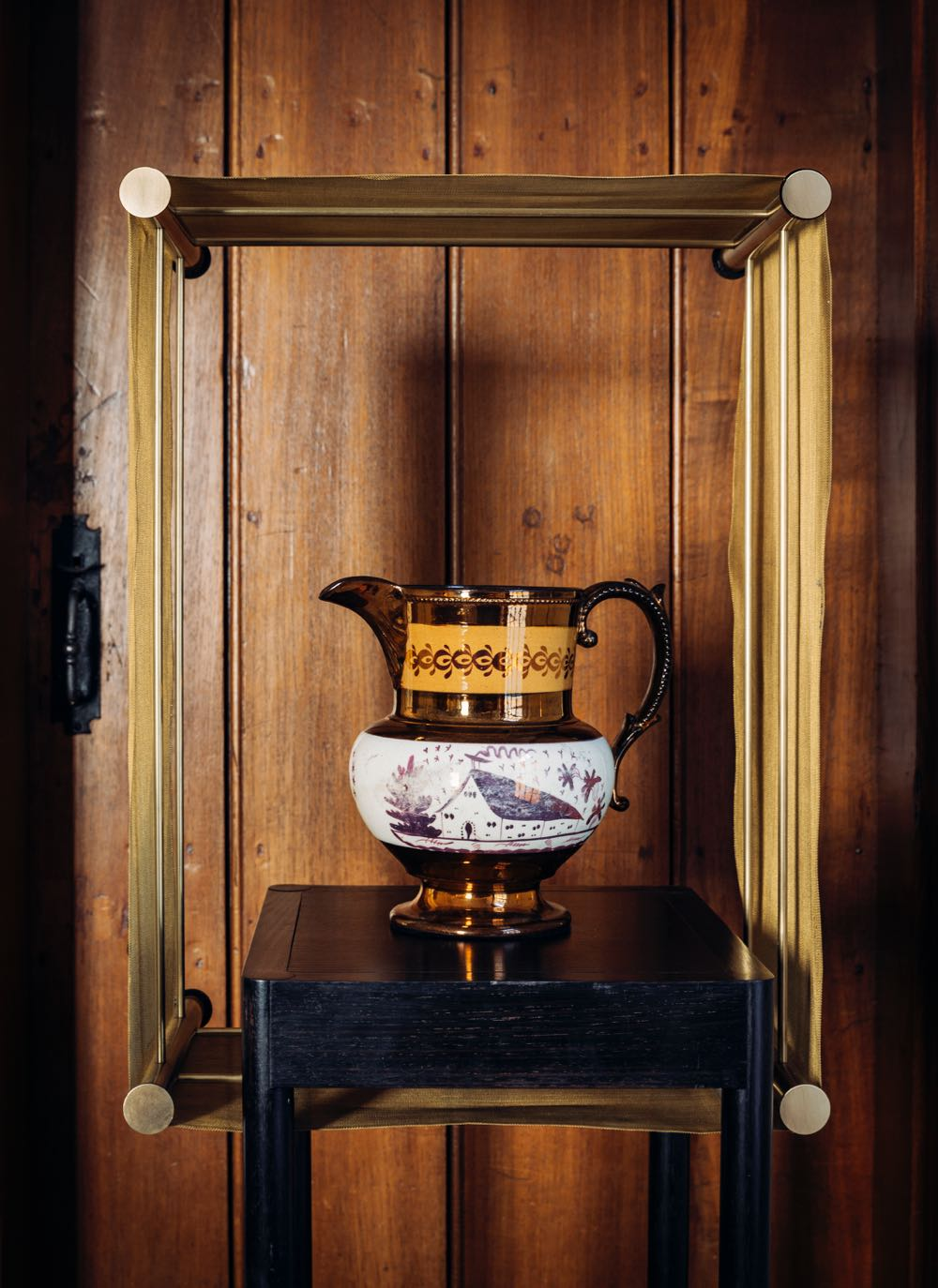 Elliot Rich's 'Coolgardie Line Curio' (2015) made from timber brass and clear acrylic by Oscar Prieckaerts and Lucy Godoroja with a water jug from the Old Government House collection.