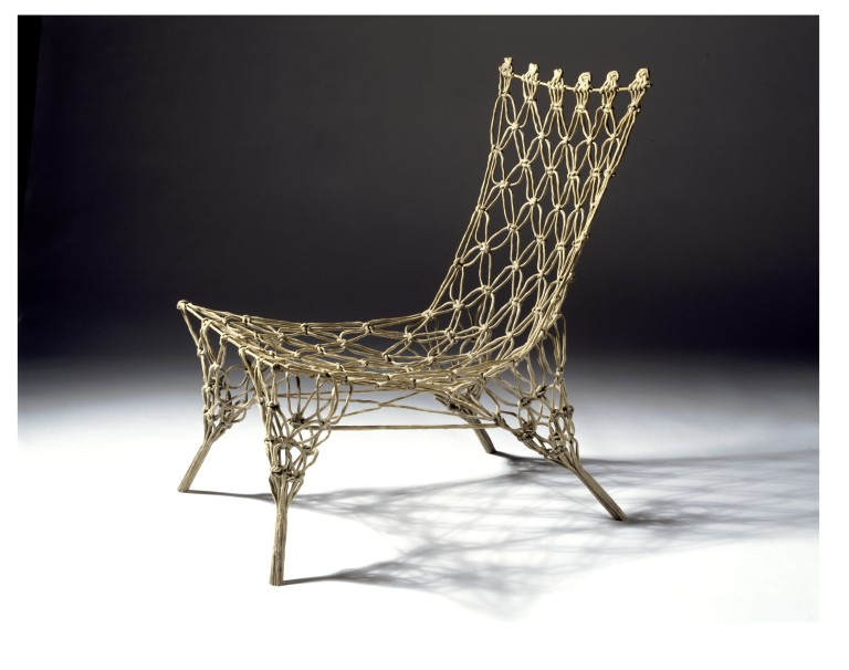 Marcel Wanders' 'Knotted' chair designed in 1996 for an exhibition called  Dry Tech 1 and released by Cappellini in 1997.