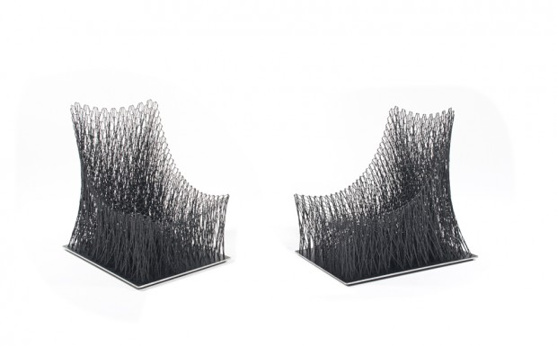 Korean designer Il Hoon Roh's 'Luno' lounge chairs in carbon fibre filaments explore an entirely different approach to carbon fibre. The chairs reveal incredible strength despite their delicacy.