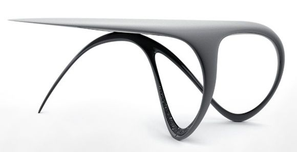 Brodie Neill's 'Jet' desk (2008) is largely made from carbon fibre with the addition of swarovski crystals lining one side of the base. The desk was made to commission as a one-off.