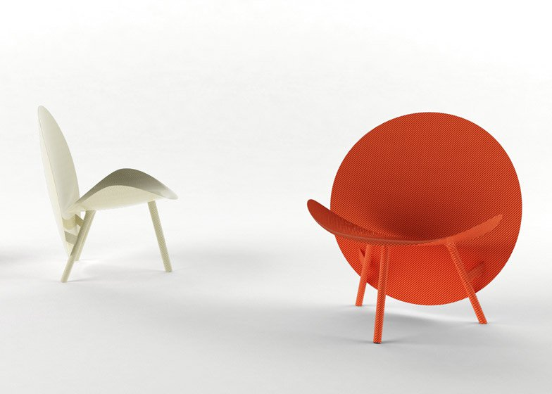 Michael Sodeau's 'Halo' chair (2014) uses Hypetex the first coloured carbon fibre material.