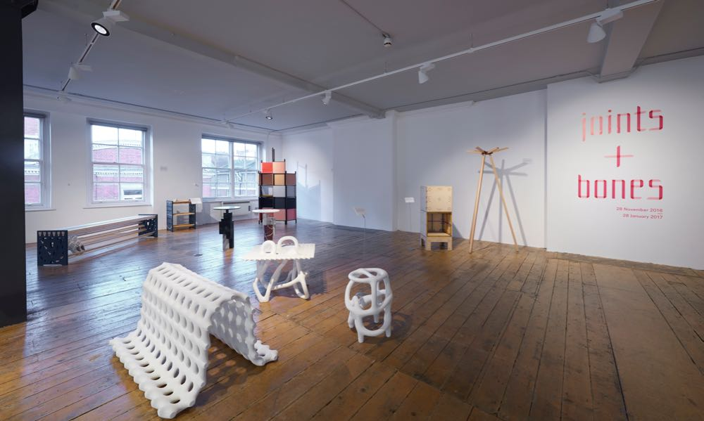 The joints + bones exhibition at Aram Gallery London with some extraordinary new pieces by Studio Ilio in the foreground. Photograph by Sylvain Deleu.
