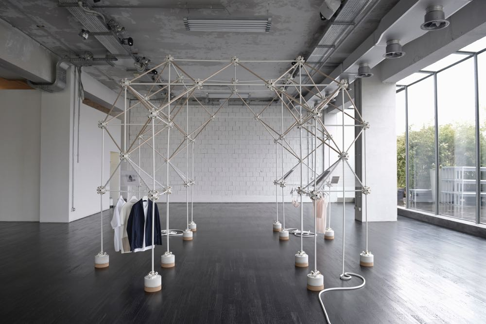 Bonsoir Paris' storage system installed for fashion brand Cos at Salone del Mobile in Milan in 2013. The system is highly portable and flexible. Photograph by Owen Richards.