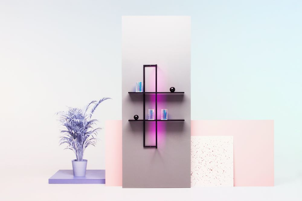 The palm tree is optional but the 'Kajo' shelving comes with an integrated LED light to illuminate objects and promote healthy plant growth should you wish to engage in some indoor horticulture. Photograph by Annikki Valomieli.