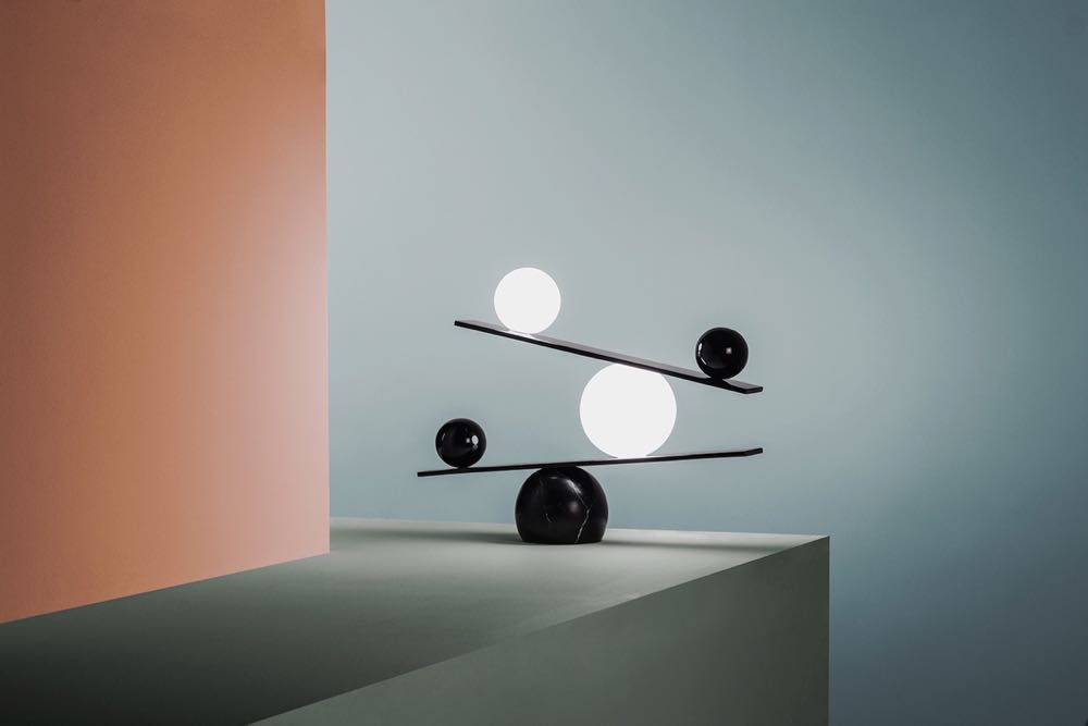 'Balance' is a playful lighting design based around the concepts of gravity and time.