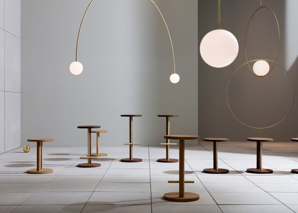 The Michael Anastassiades installation  The Double Dream of Spring  for Herman MIller presented during Salone del Mobile in 2016. The stools are really nice but the lights are particularly magical.
