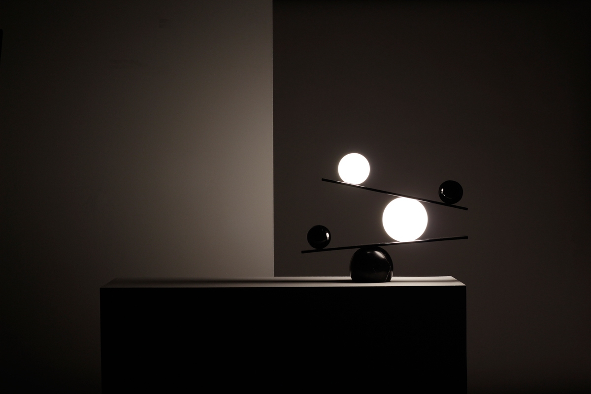The precariousness of Victor Castanera's 'Balance' light seems only to increase when seen in moody surroundings.