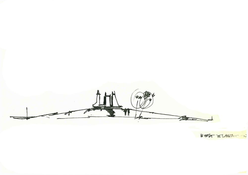 A sketched elevation by Enrico Taglietti of his proposed NItrate Film Vaults (1977). I like to think of the two trees on the right as Enrico Taglietti and Gianmatteo Romegialli - two friends who thrive off their total obsession with architecture.
