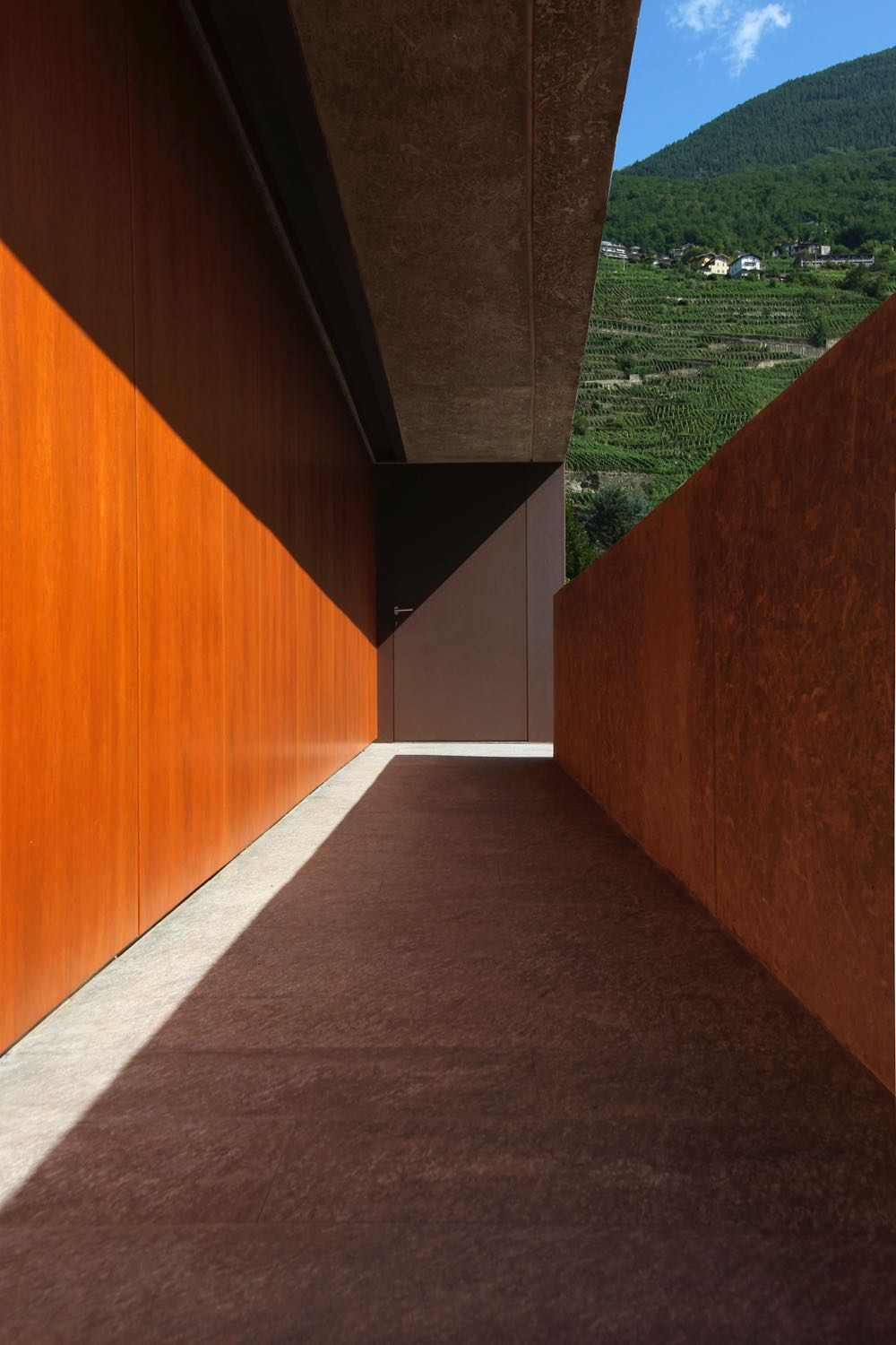 The entrance corridor of the DMB House by Act_Romegialli (2010).