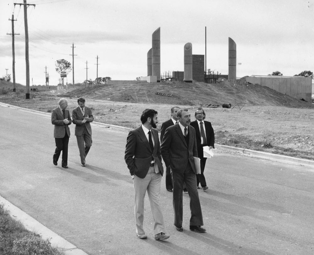 The Nitrate Film Vaults in Mitchell Canberra prior to landscaping (1977). Photograph by the Canberra Times.