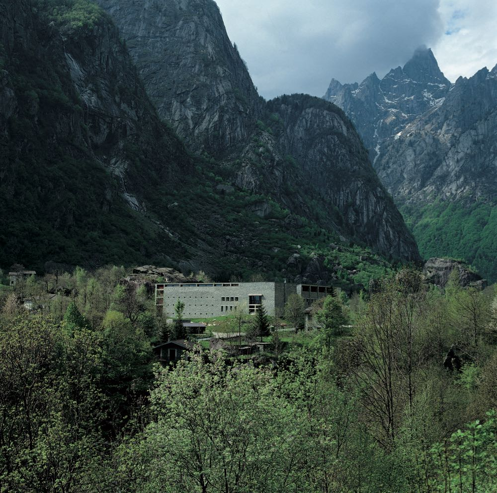 The dramatic setting in which Act_Romegialli's Casa delle Guide Alpine Lodge exists. The building was designed around and to reflect the L-shaped rock formations that were on the site. Photograph by Filippo Simonetti.
