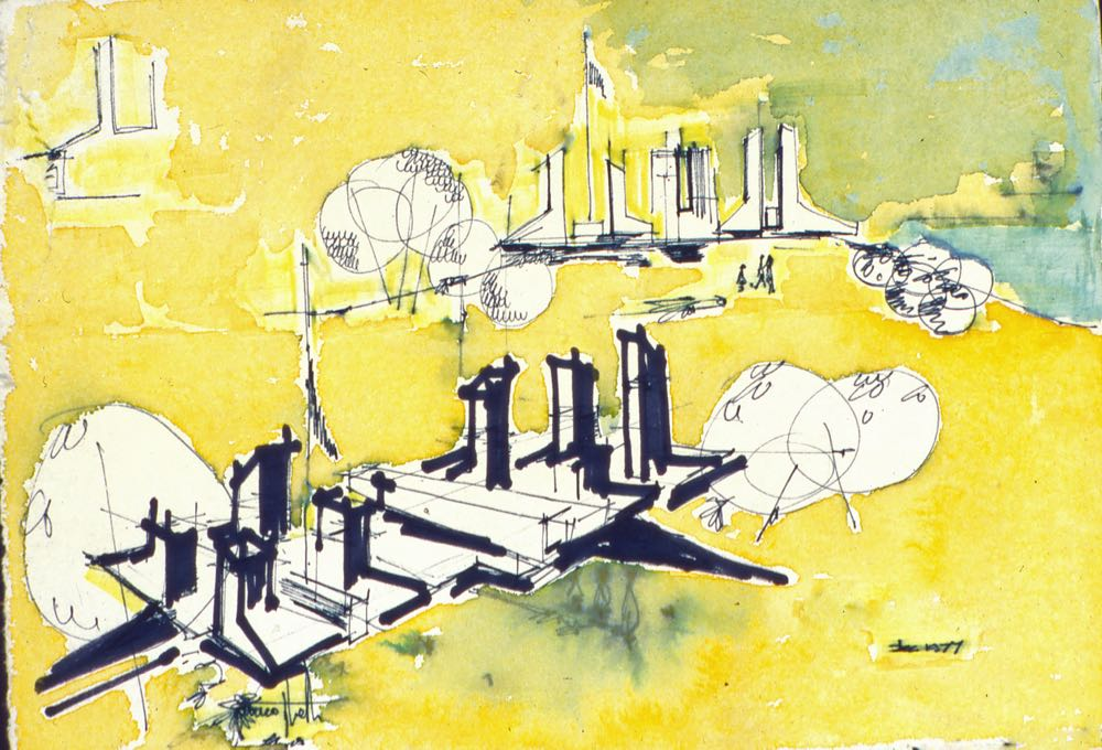 A Taglietti sketch of the Nitrate Film Vaults showing the connection between the vault's chimneys and the Canberra skyline.
