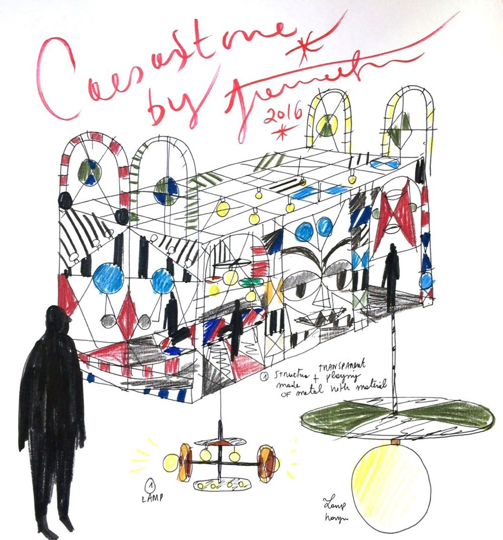 It's flamboyant, it's colourful, it's Jaime Hayon - and it's invariably great. Hayon's sketch of his installation for Caesarstone at IDS 2017, Toronto.