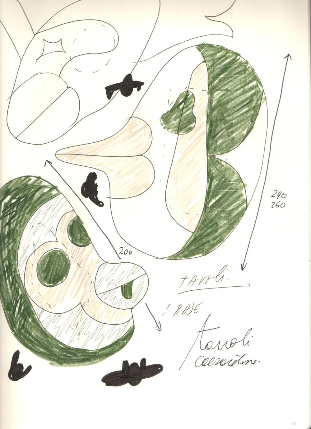 Another of Hayon's sketches for the Caesarstone project, showing the biomorphic shapes of some of the tables.