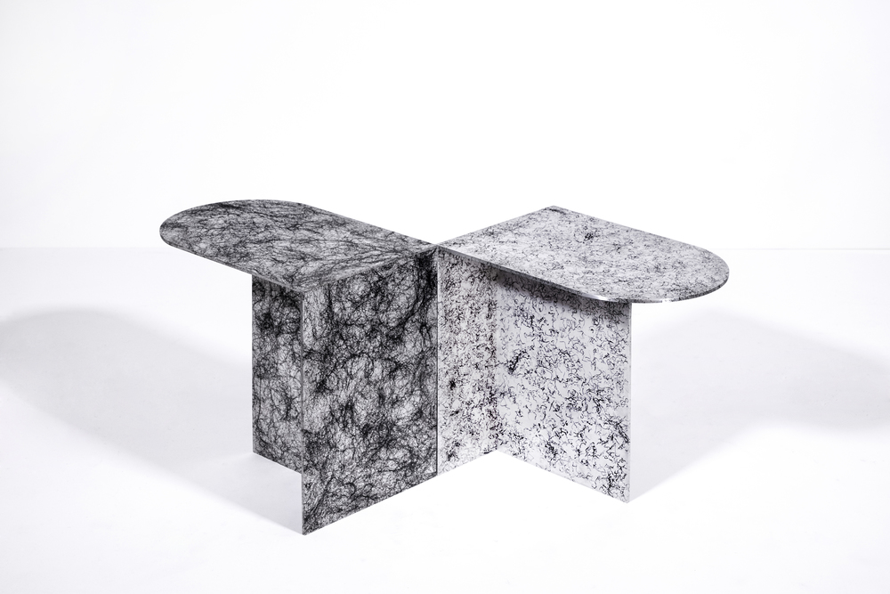 Side tables from the 'The Colour of Hair' collection by Fabio Hendry and Martijn Ritjers.