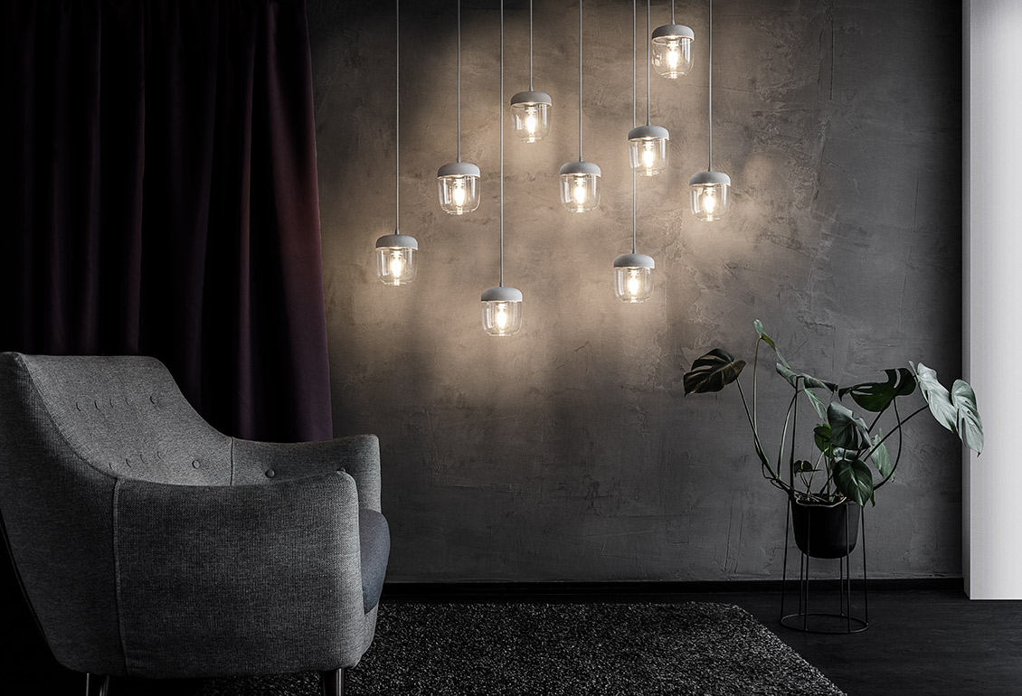Vita Copenhagen's 'Acorn' pendant light previously only available in black now comes in white.