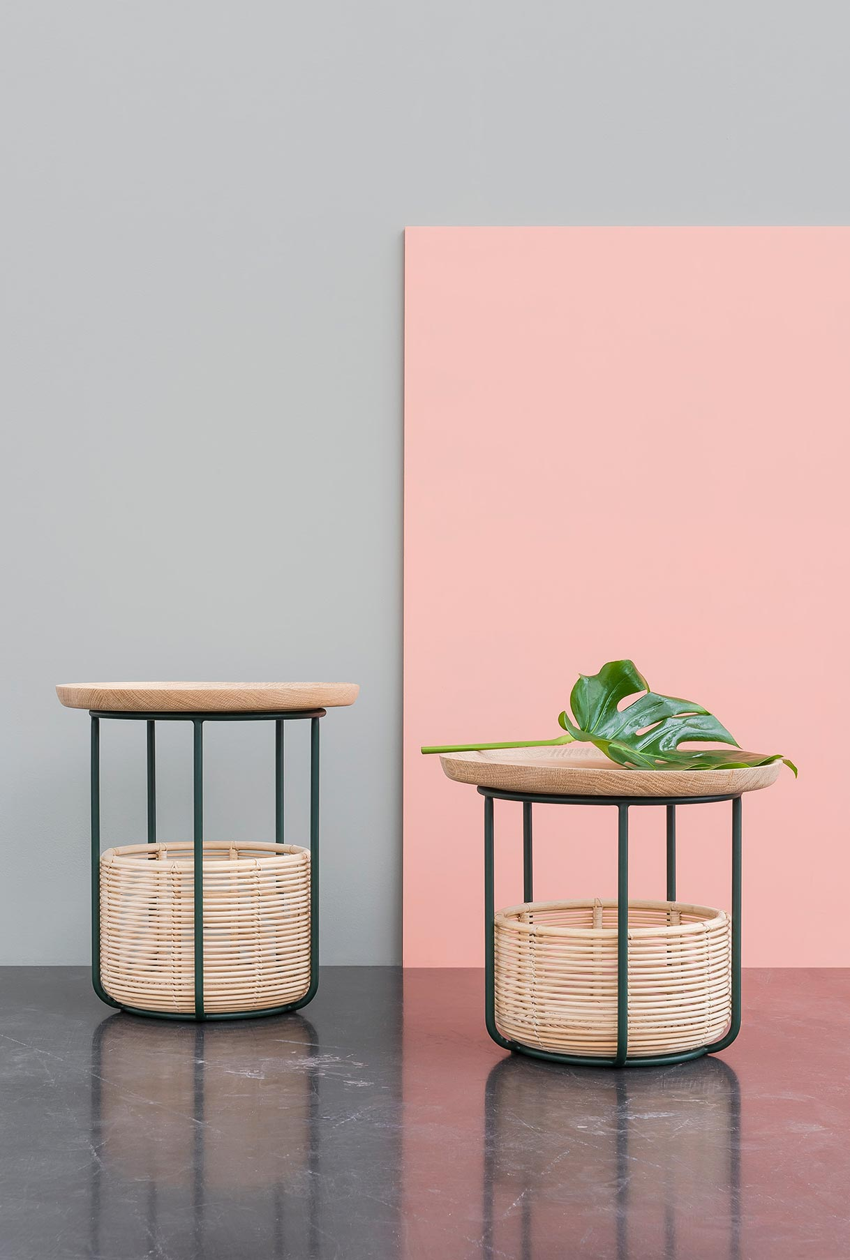 The 'Basket' side tables by Alain Gilles for Belgian label Vincent Sheppard featuresrattan baskets and a removal solid timber tray style top.