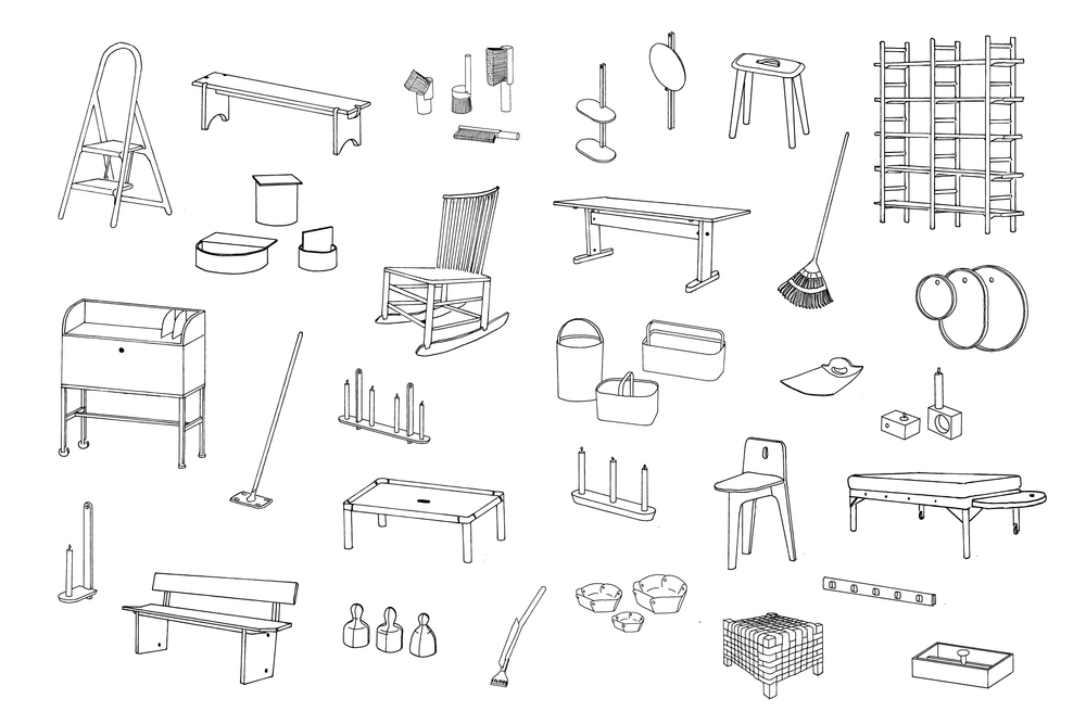 Line drawings of products featured in the Furnishing Utopia exhibition - new products paying homage to the simplicity of Shaker furniture and objects.