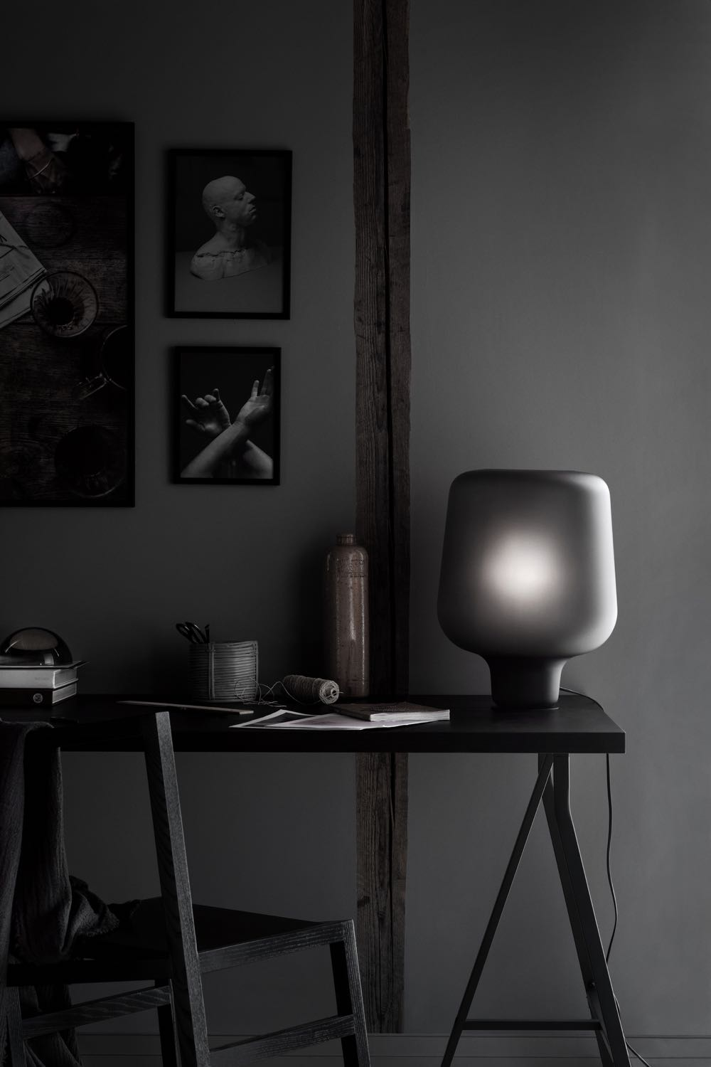 Northern Lighting released their 'Say My Name' table lamp by Morten & Jonas in smokey grey frosted glass. The design itself is not new but in the new finish the light takes on a whole new look.