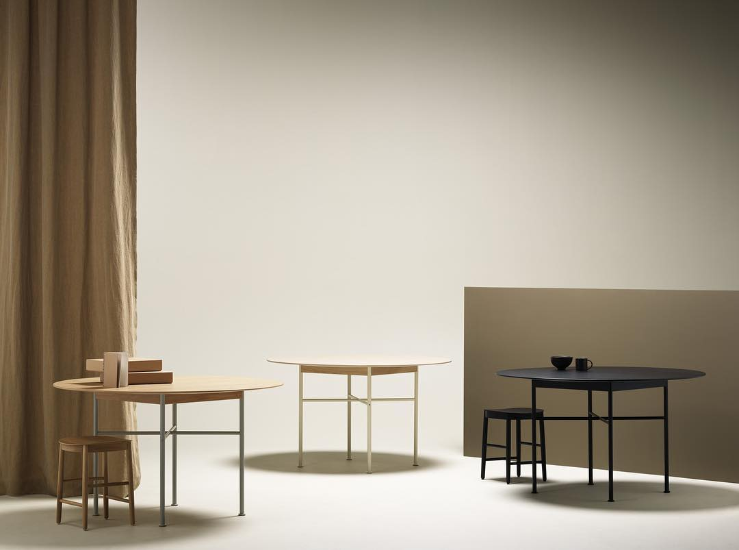 Round 'Supper' tables by Andreas Engesvik for Fogia. Circle, square and cross motifs laid one on top of the other.