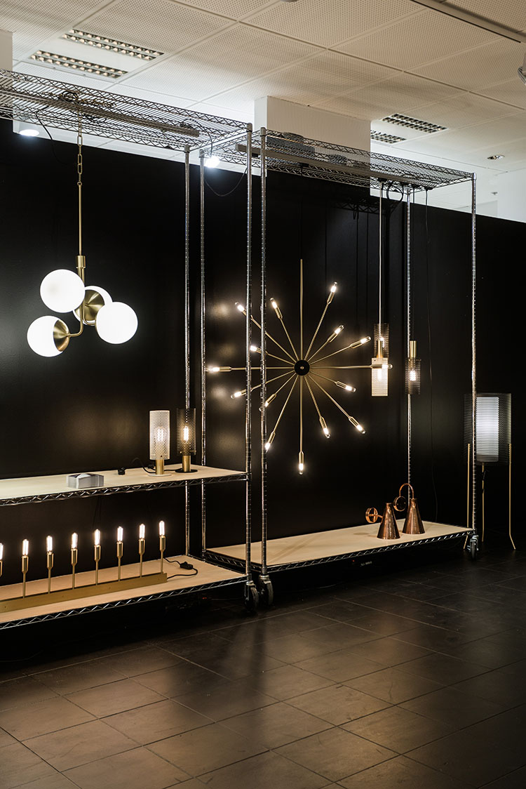 Rubn Lighting launched their new 'Bouquet' pendant (left) and the equally as impressive 'Astoria' 15 arm wall light (right). Photograph by Mikael Axelsson for Fred International.