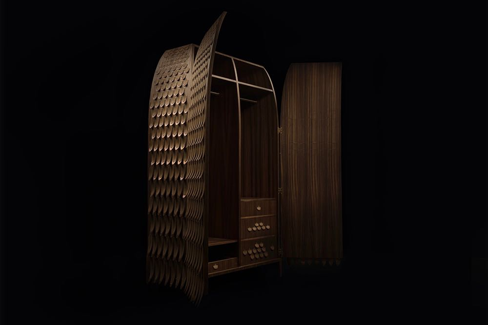 The Pankalangu wardrobe in all its glory. It's bullet shape and incredible scale-like surface combine to create a piece that is visual stunning but also immensely tactile. Photograph by Michael Corridore.