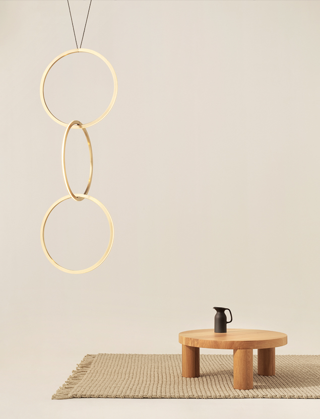 New Zealand brand Resident will again show at Salone - this time at the fairgrounds as part of Euroluce. The 'Circus' pendant above is by Resident Studio, the coffee table is their first collaboration with British based Canadian designer Philippe Malouin - its called 'Offset'. If thats solid oak it going to way a ton/tonne!