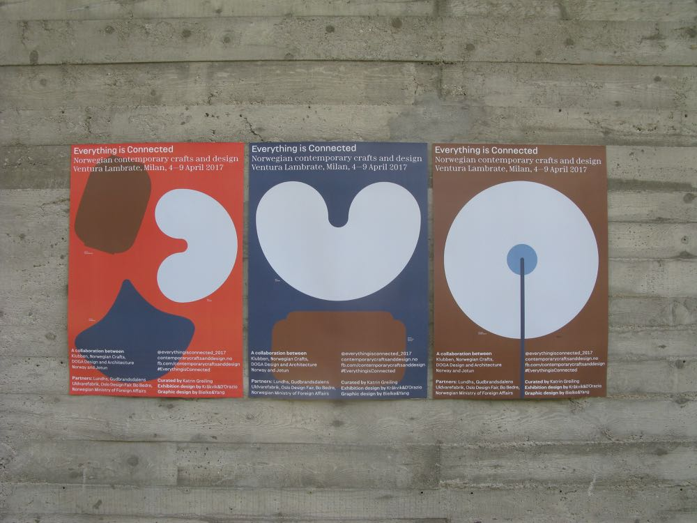 Lovely promotional posters for the Everything is Connected exhibition ofNorwegian design and craft at Ventura Lambrate.