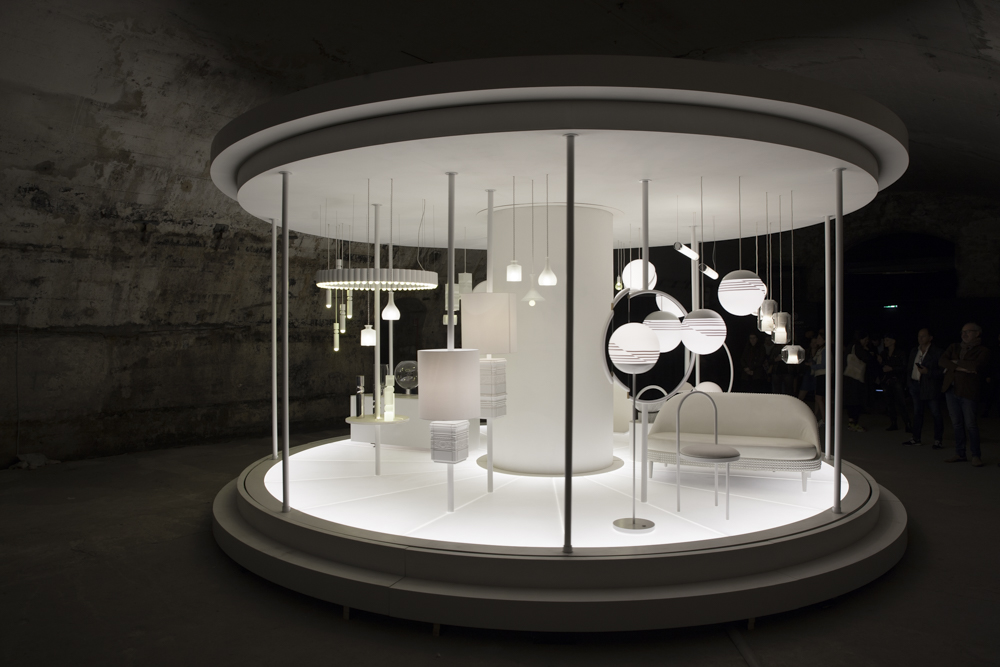 Lee Broom's retrospective at Ventura Centrale was worth the queue. A slowly revolving collection in brilliant white inside a cold dark railway arch delivered a mix ofThe Magic Roundabout nostalgia with 21st century design. Photograph Craig Wall.