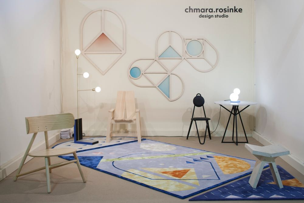 Chmara.rosinke Studio from Austria exhibited a number of graphic ideas across rugs and wall pieces in combination with timber seating that played with simple archetypal forms. Photograph by Craig Wall.