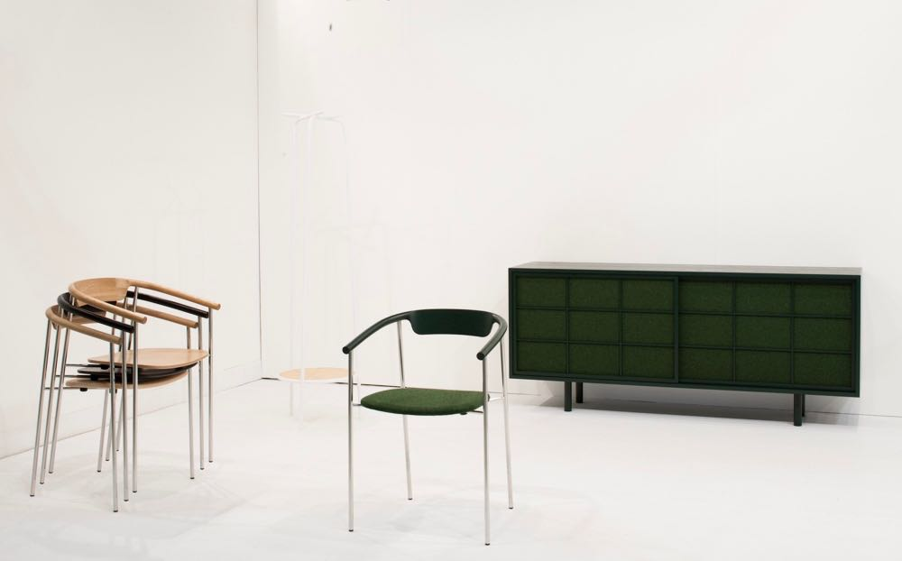 The stand of Daisuke Kitagawa from Japan. The minimal 'Struct' stacking chair in green Kvadrat Divina fabric against the 'Lattice' cabinet with its screen like doors in the same material was absolutely perfect. Photograph by Craig Wall.