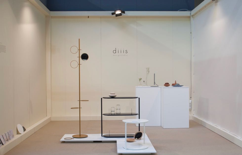 Diiis is a studio from Switzerland. Their 'Glaubie' mirror and clothes stand was particularly appealing. It has already been taken up by Swedish company Fogia.  Photograph by Craig Wall.