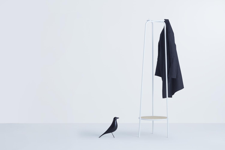 Daisuke KItagawa'S 'Trio'coatstand in powder coated metal and woven cane.