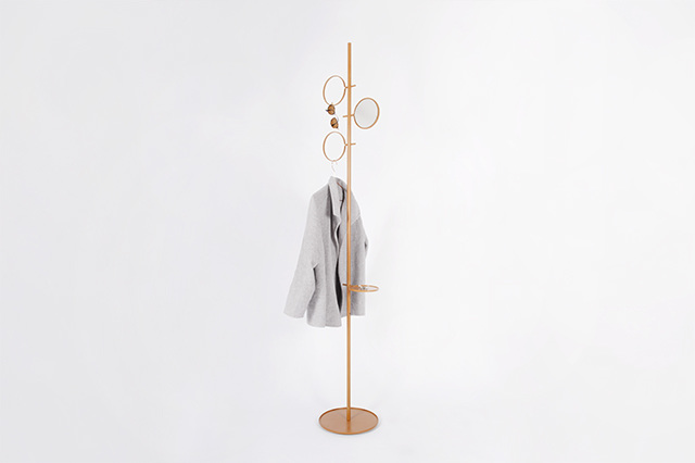 The new 'Glaubi' coat stand by Diiis Studio. The metal coat stand offers options for small trays clothing rings for scarves and jackets as well as mirrors - all of which can be plugged in and moved up and down the central stem as the need requires.
