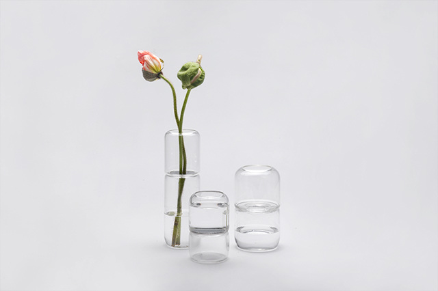 Diiis Studio's magical vases SIM, SALA and BIM. Several can be stacked and used for tall stems or just a single component can be used for smaller posies.