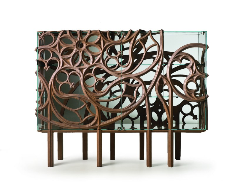 Ferruccio Laviani's 'Gothik-A' cabinet for Fratelli Boffi - amazing sinuous woodwork wrapped around a glass box. One can't help but be amazed by the technical dexterity of it all - even if its not your thing.