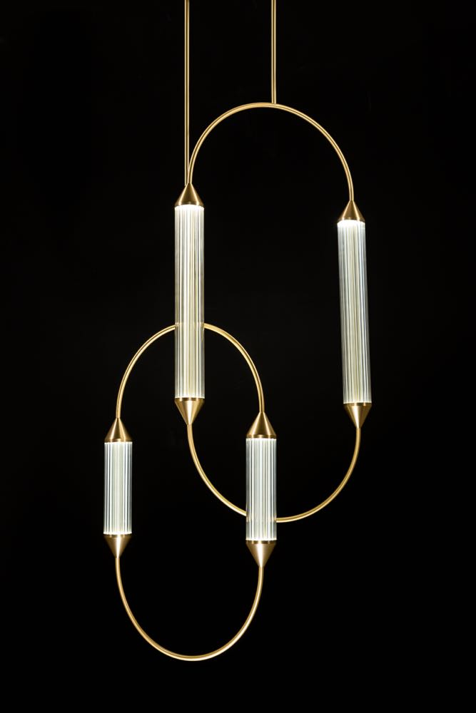 Giopato & Coombes  'Cirque' shown as part of an extensive new collection featuring the luxurious use of glass and brass.