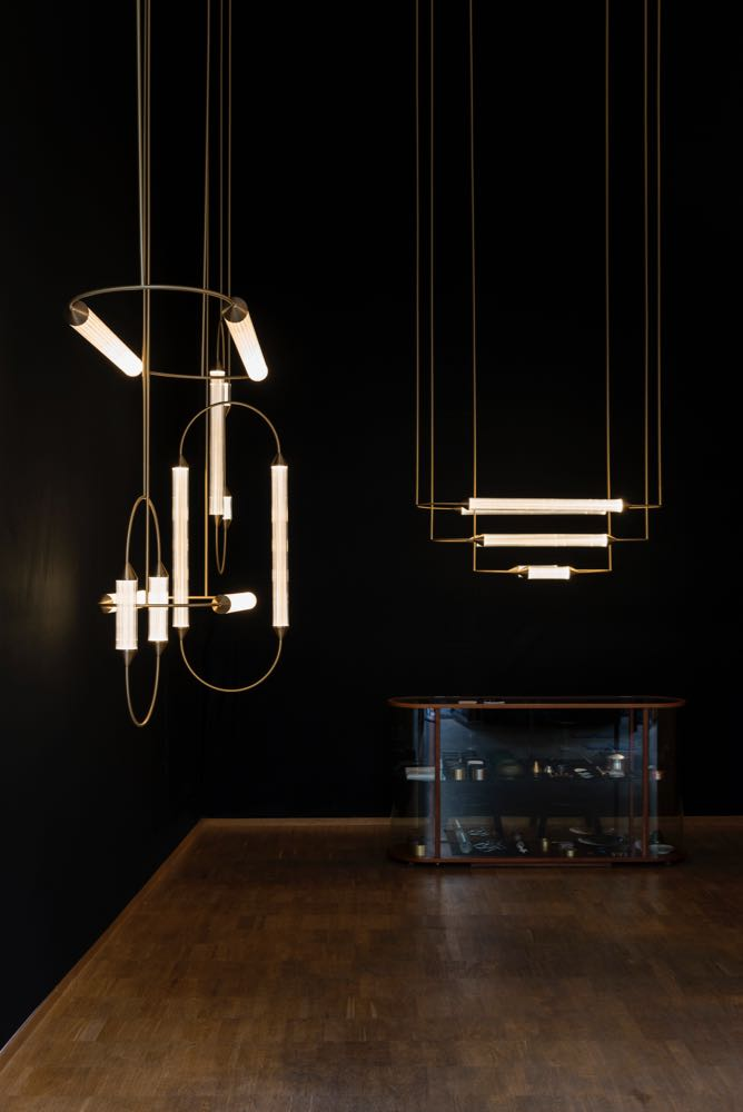 Giopato & Coombes lighting (including 'Cirque') on show at a venue in 5Vie. Photograph by Jon Bronxl.