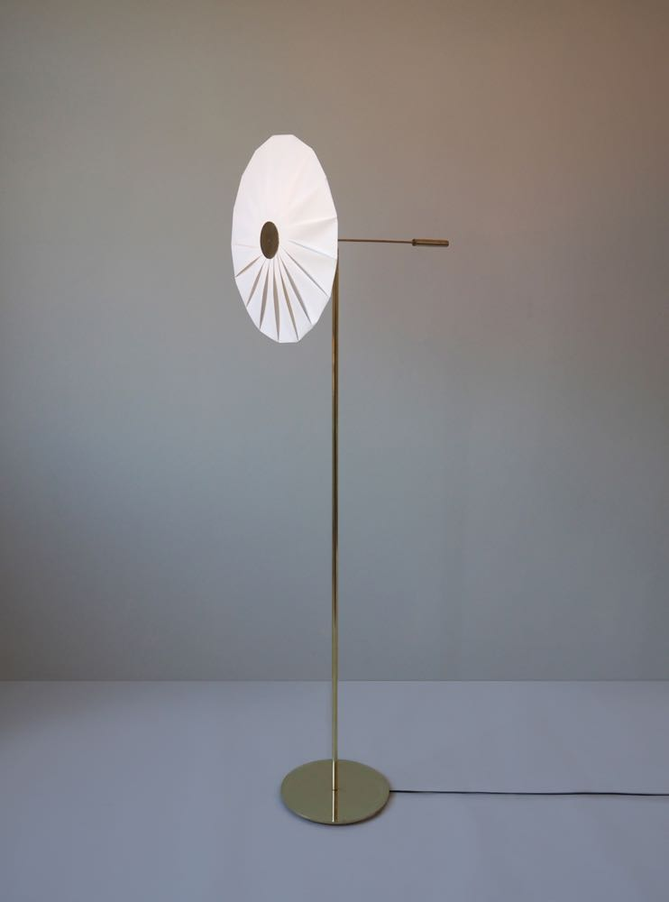 UMut Yamac's 'Bloom' floor light in pleated paper and brass.
