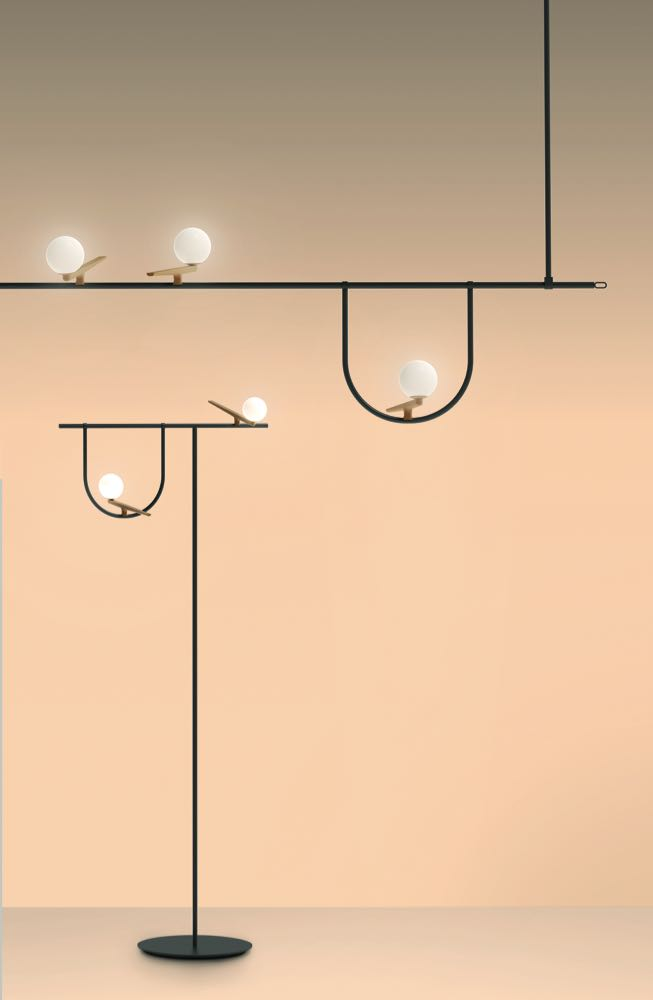 Neri & Hu's 'Yanzi' lights for Artemide - delicate perches for imaginary birds.