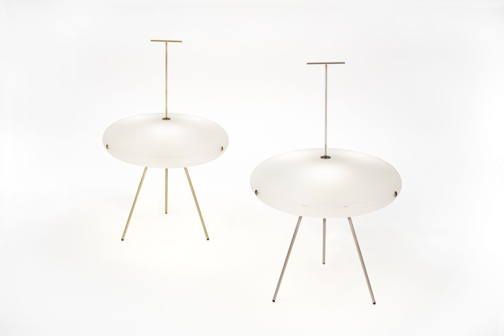 'Luna' lamp by Gio Ponti - reissued by Tato. Glass and brass in the style of Isamu Noguchi's 9A lamp in paper and bamboo.