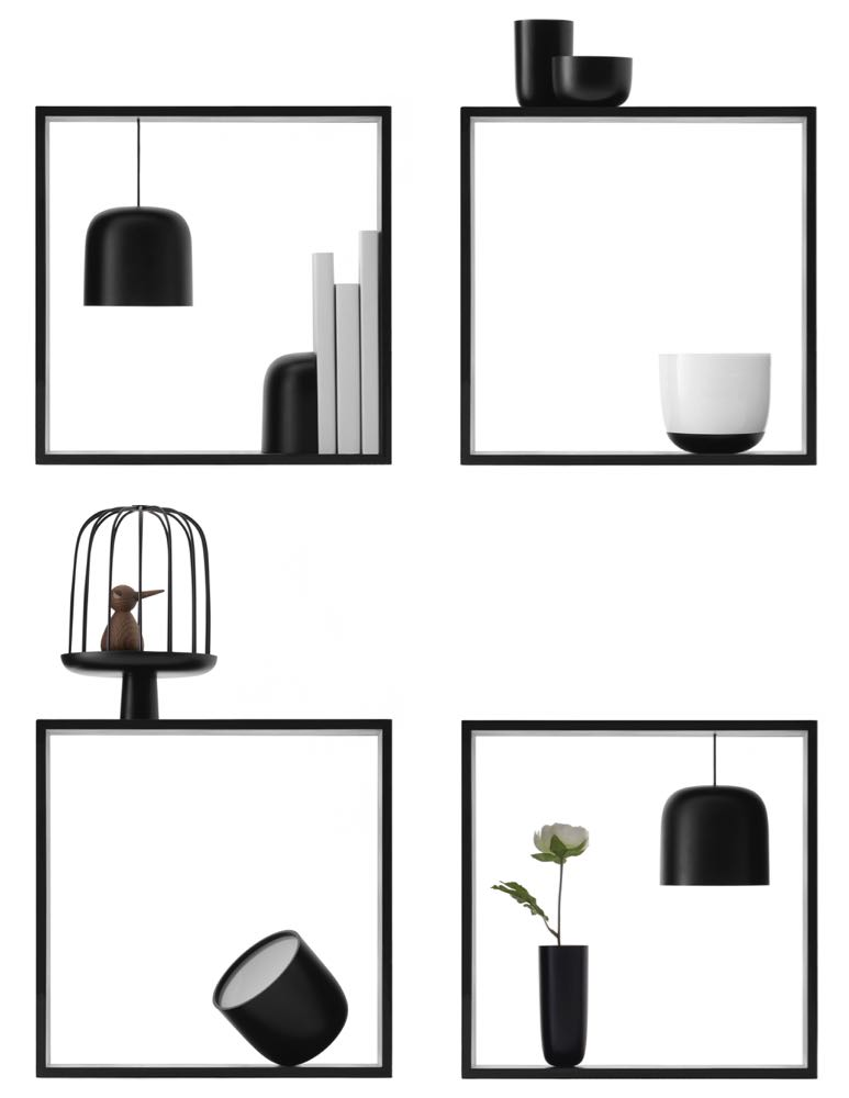 Nendo's 'Gaku' lights for Flos allow the user to create wonderful little vignettes within a graphic frame. Using magnets the lights can be positioned anywhere within and on top of the frame like small three-dimensional artworks.