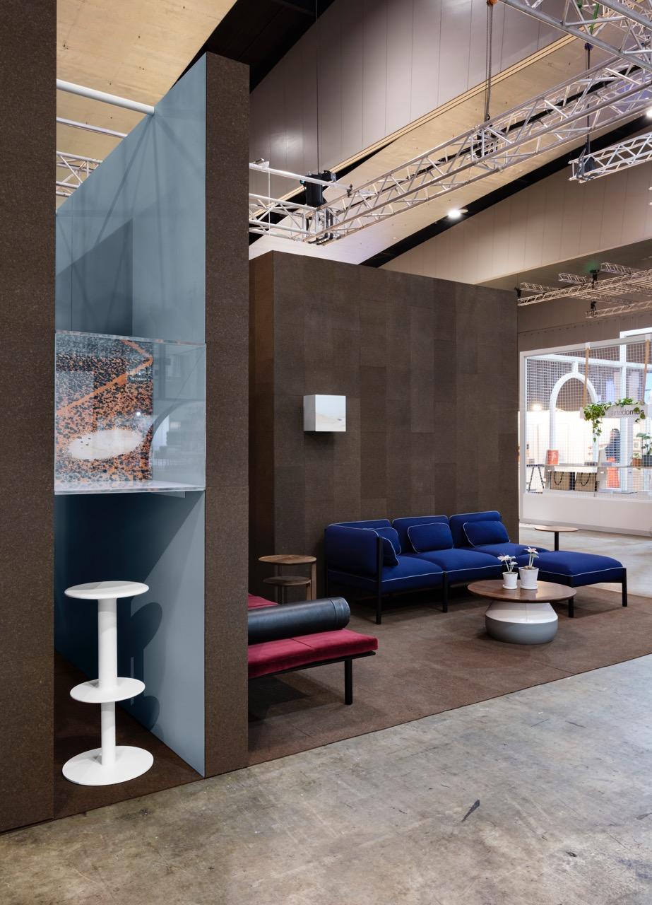 Adam Cornish's 'Rev' stool and 'Converse' modular sofa for Nau.Photograph by Diana Snape.
