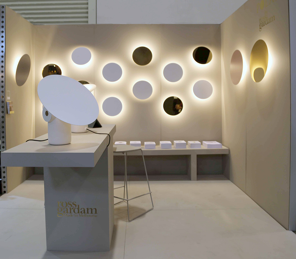 Australian designer Ross Gardam extended the 'Polar' range of lighting by adding a wall sconce that comes in an array of finishes. Paints by Axolotl.