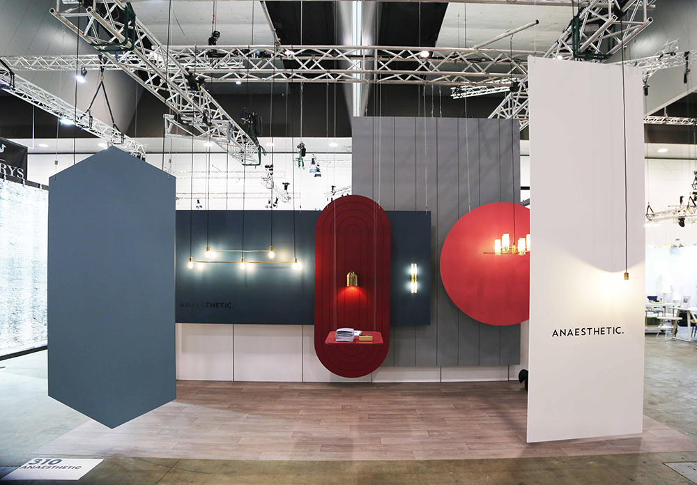 Anaesthetic partnered with finishes specialist Axolotl to showcase their minimal lights and Axolotl's new paint range.
