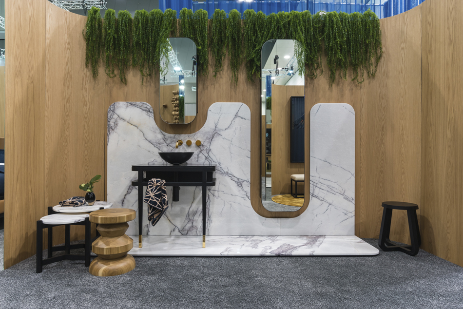 Another side to the Zuster stand revealing their lighter side - Carrara marble and oak.