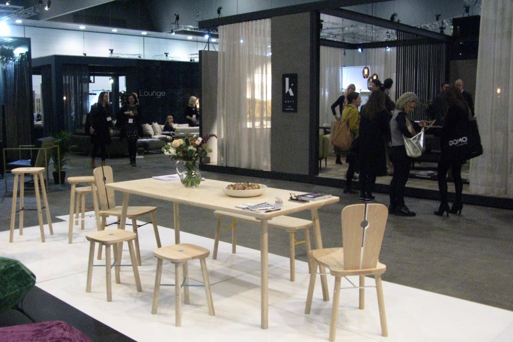 The  Yellow Diva  stand showcased their new 'Facet'ottoman and their delightful 'Milker' collection inspired by co-founder David Walley's Tyrolean heritage. The collection includes two tables, a chair, a bench and stools in various heights.