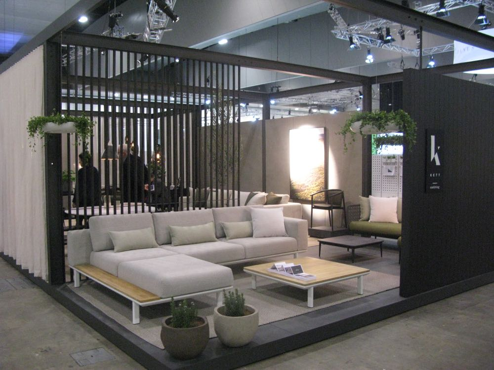 The launch of new brand Kett saw Cosh Living and Kett combining to produce a highly architectural structure in steel with multiple openings and screening materials. The Melbourne made sofas and beds offer European quality with short lead times.