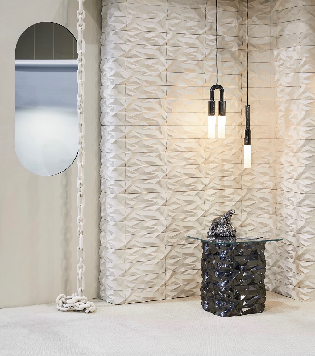 The new 'Polar' tiles from Porcelain Bear offer a highly textured surface that reflects light in interesting ways.Photograph by Haydn Cattach.